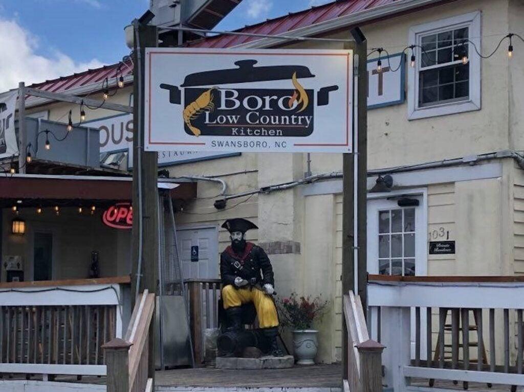 Boro Restaurant with Pirate in Swansboro, North Carolina.