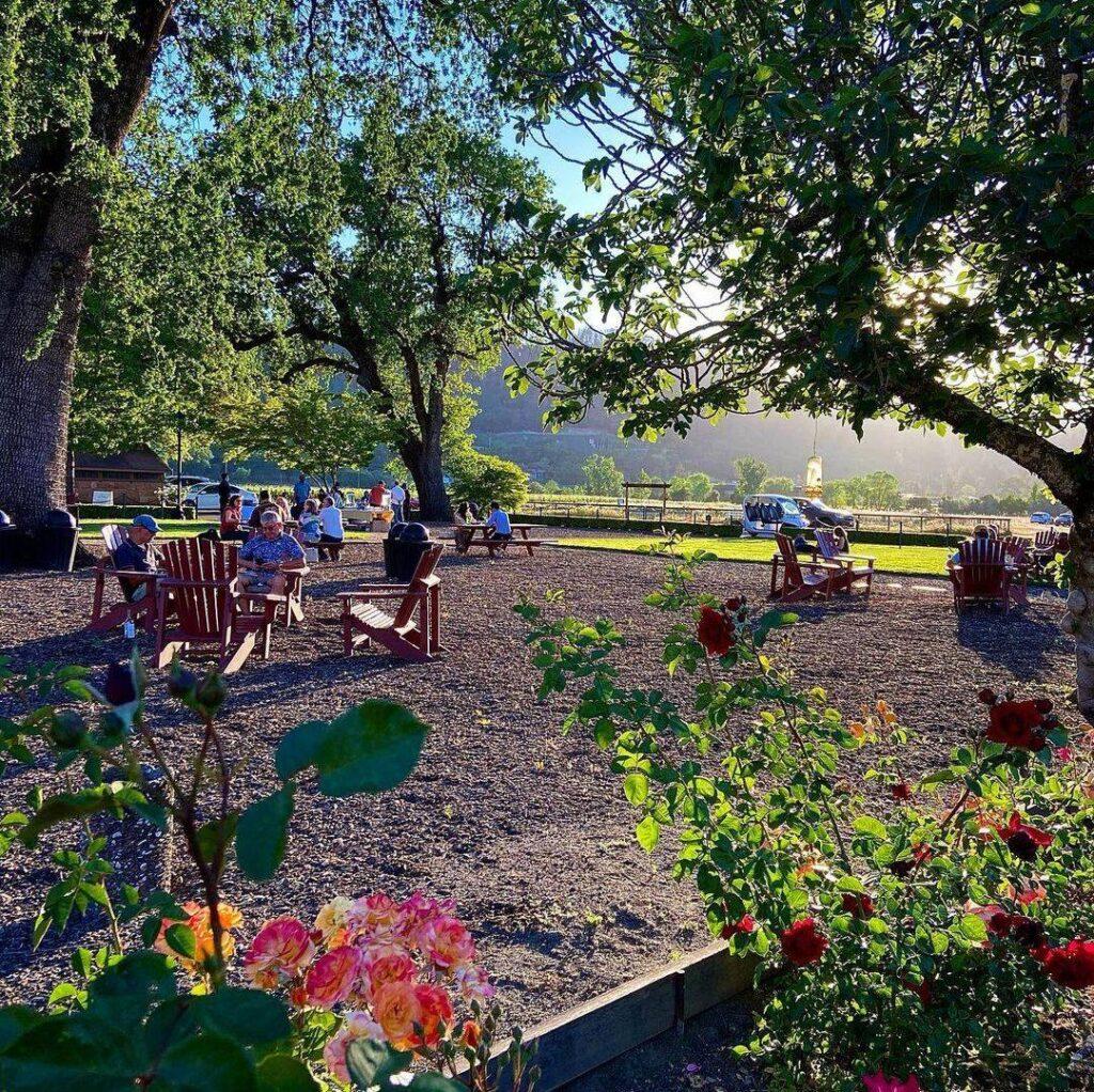 Outdoor seating at Charles Krug