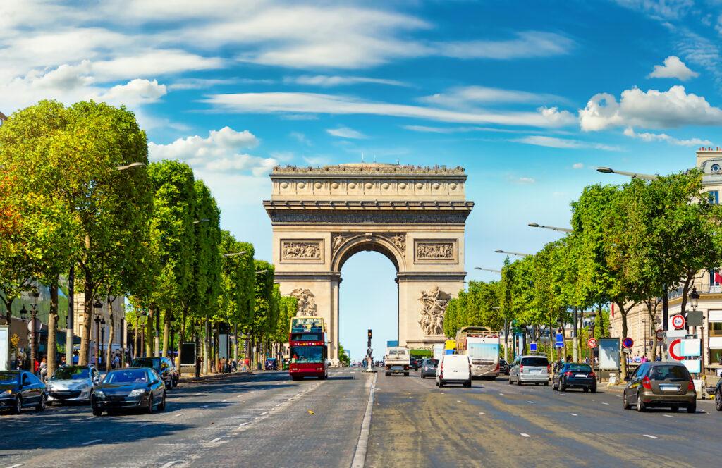 Champs Elysee leading to Arc de Triomphe; Paris, France