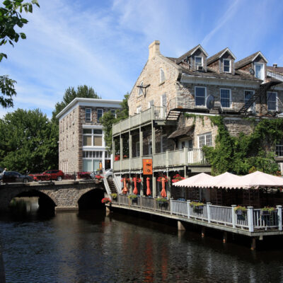 Heritage buildings and the Tay Canal on in Perth, Ontario