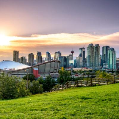 Beautiful Calgary skyline at night, Alberta, Canada