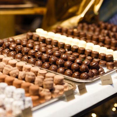 chocolates in a window in the evening. Zurich, Switzerland