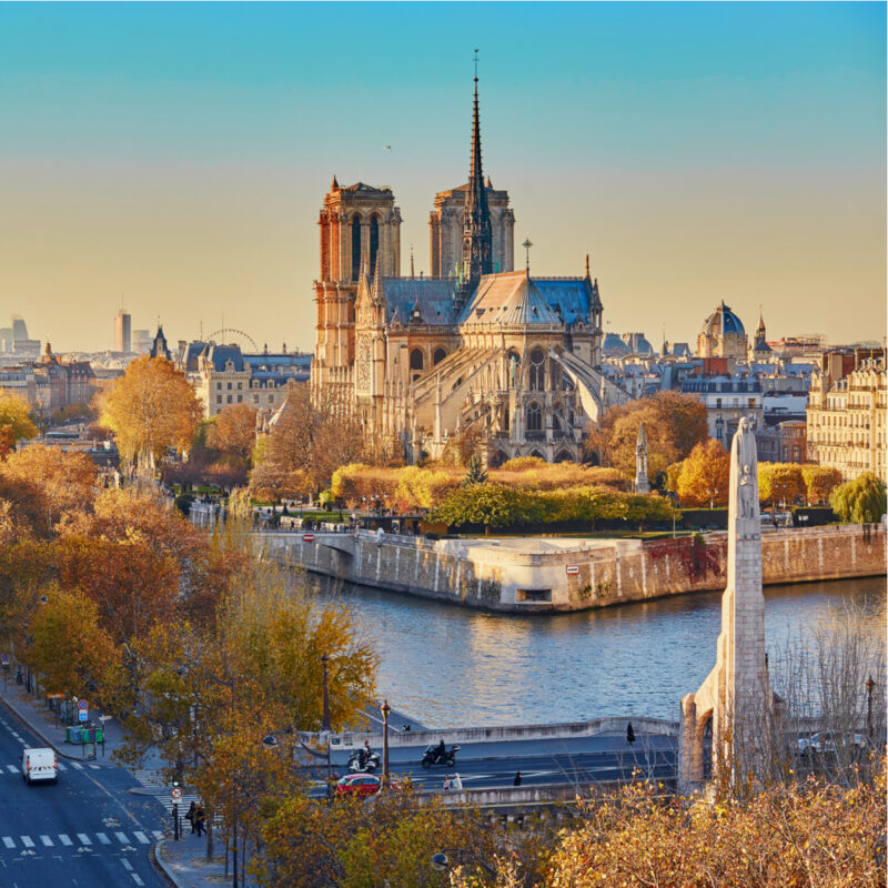 Aerial panoramic cityscape view of Paris, France with Notre-Dame cathedral and river Seine on a fall day