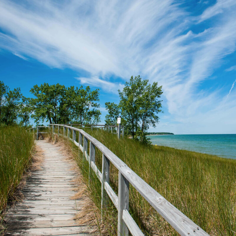 A view of the beach and the lake where Saginaw Bay and Lake Huron meet at Port Crescent State Park