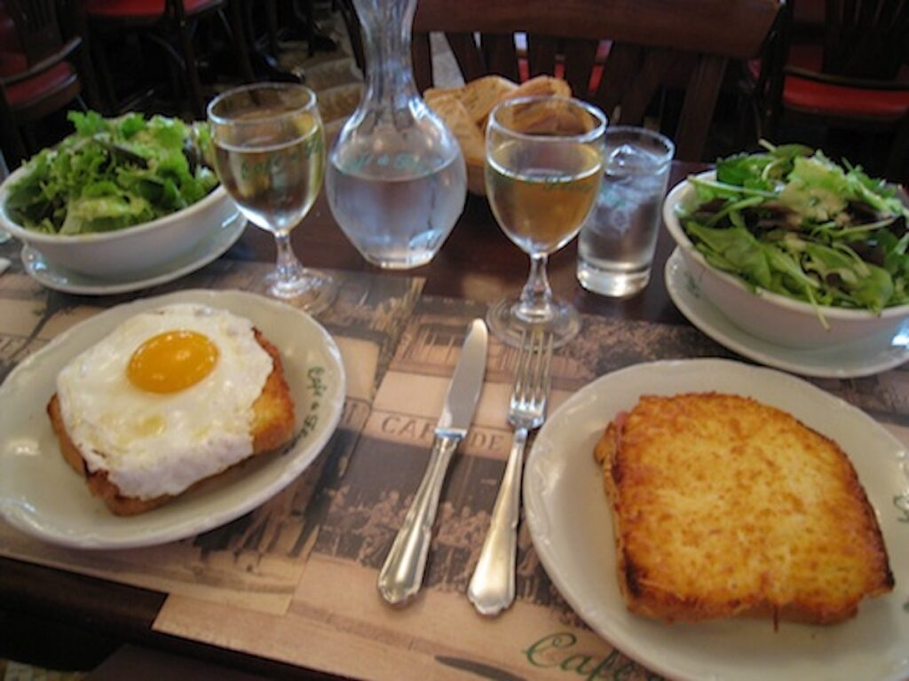 Toast and sunny-side-up egg at Croque monsieur in France.