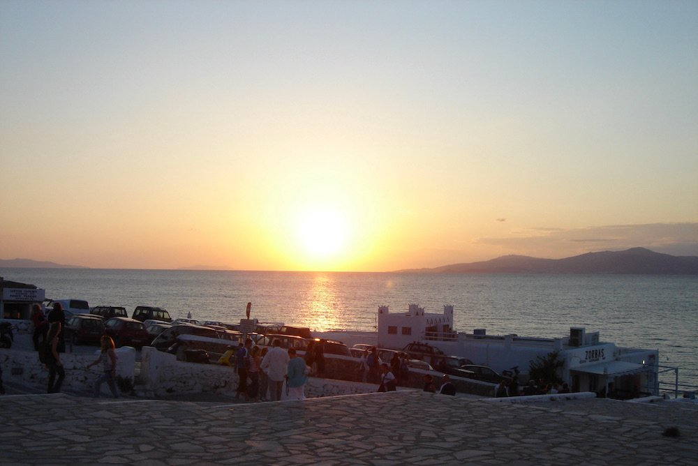 Gorgeous sunset over the Aegean sea in Mykonos, Greece