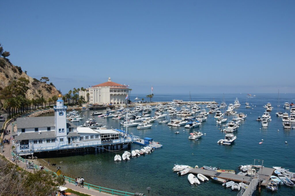 Avalon Harbor with Catalina Island Yacht Club, Casino and many different types of boats in the harbor.