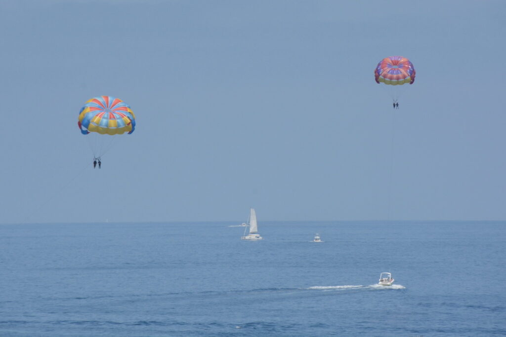 Pair of tandem parasails outside Avalon Harbor.