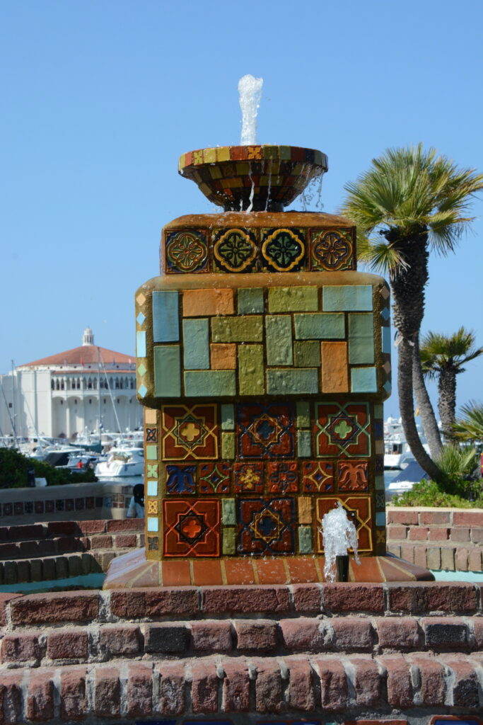 Fountain on Crescent Avenue showing tiles.