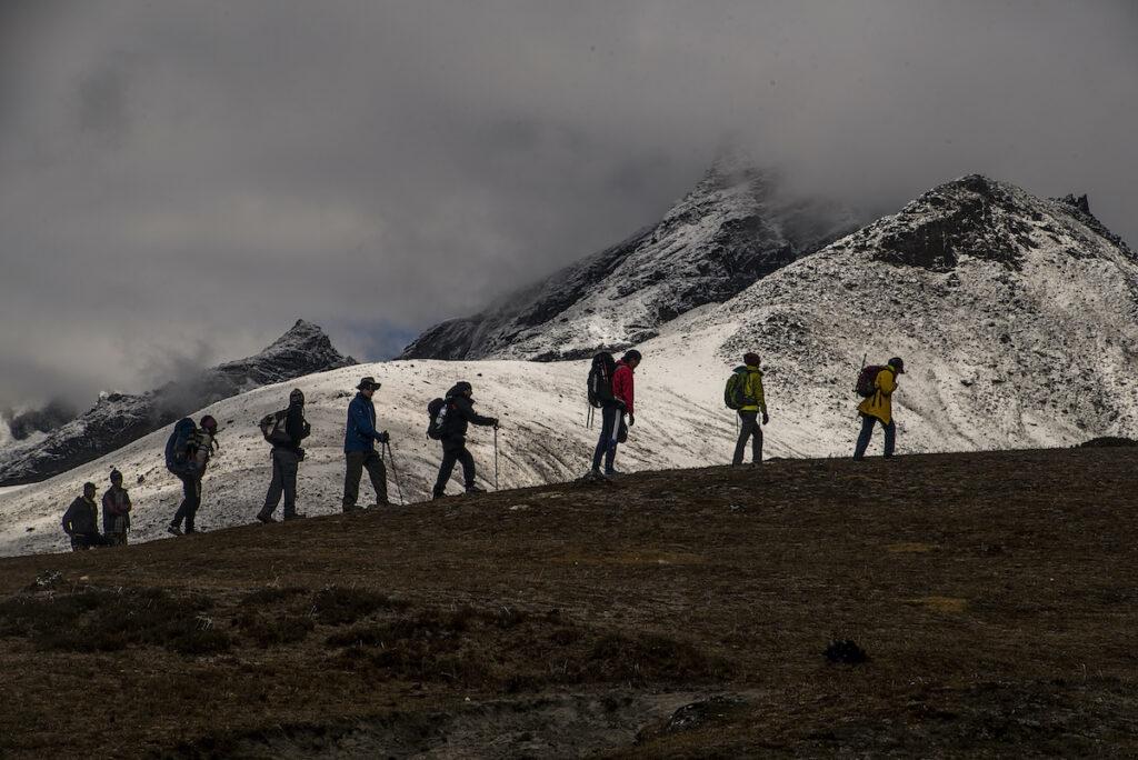 Trekkers and Mount Everest.