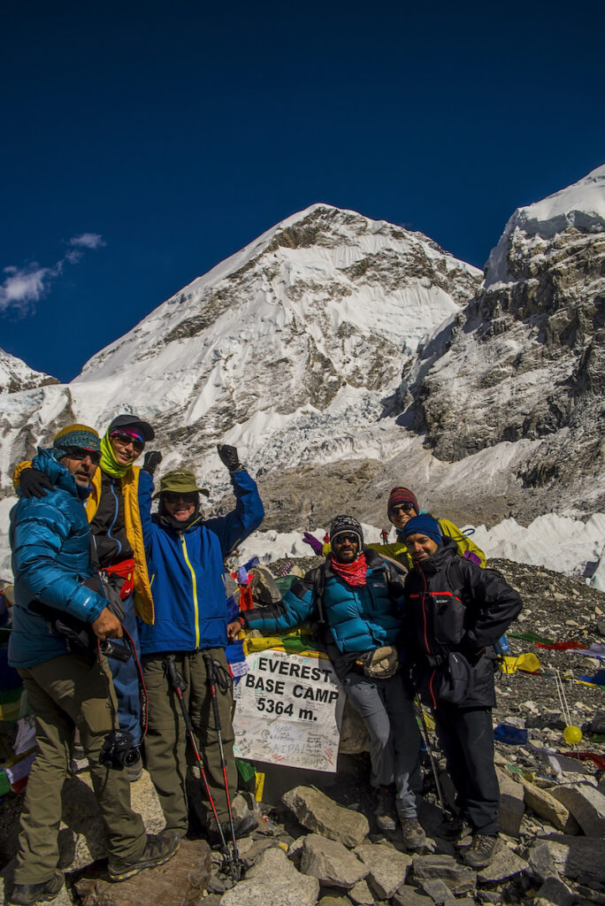 Trekkers who reached Mount Everest Base Camp.