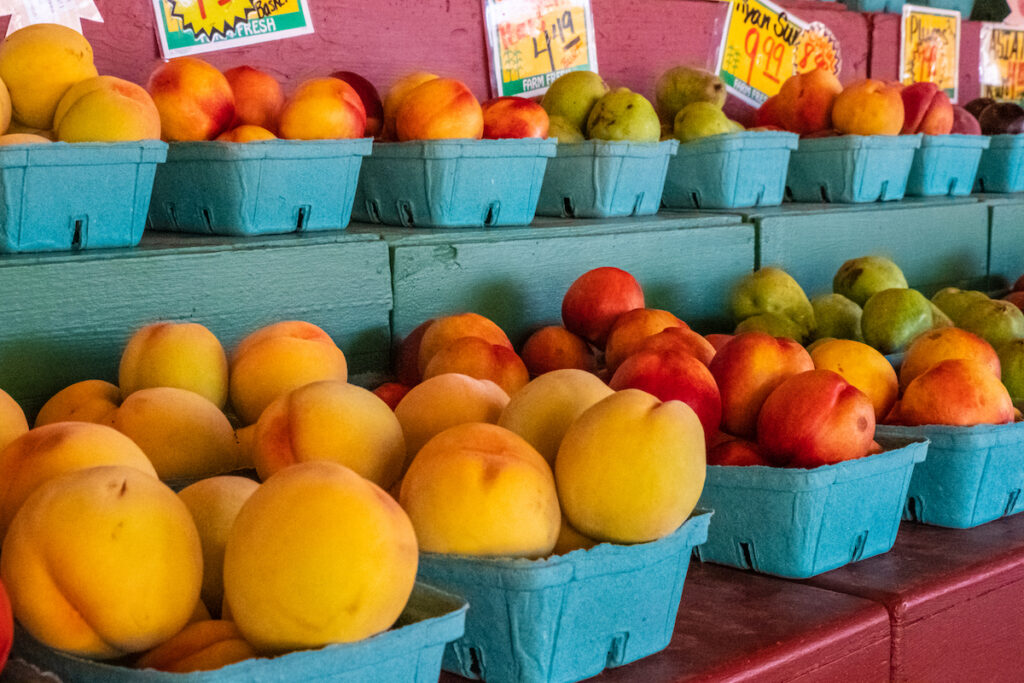 Fresh fruit and peaches at the Detering Orchards farm stall.