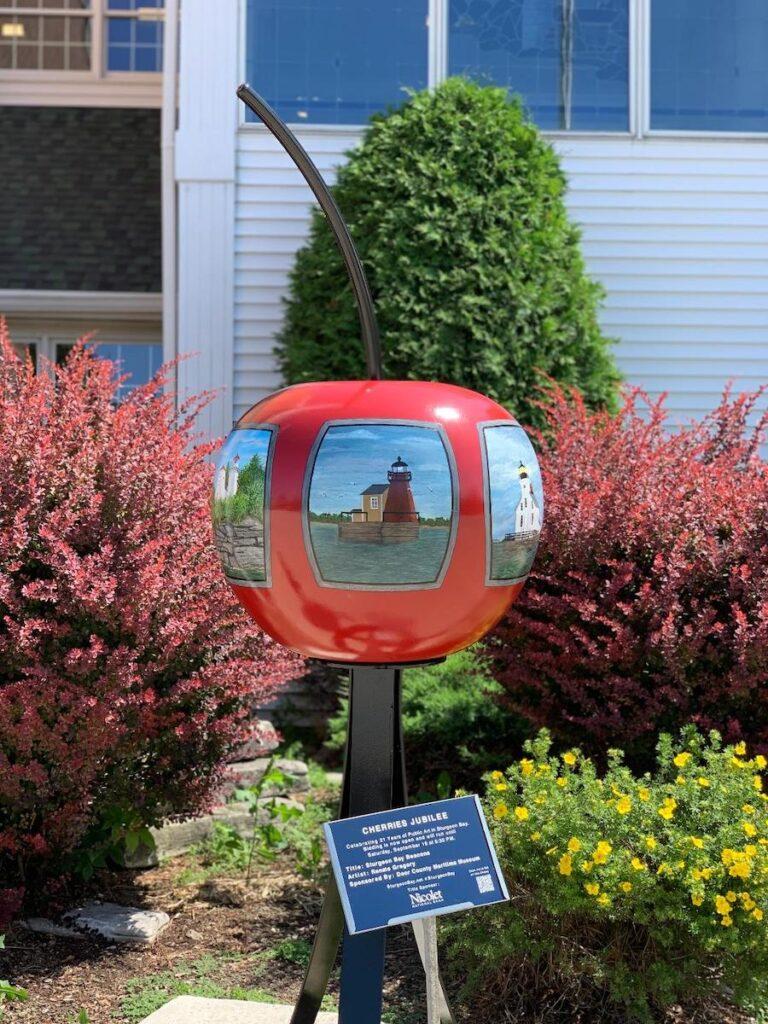"""Cherries Jubilee"" public art in Sturgeon Bay, Wisconsin."