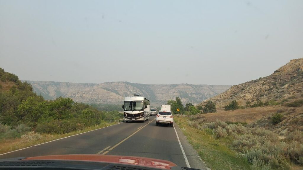 RV Driving Through Theodore Roosevelt National Park