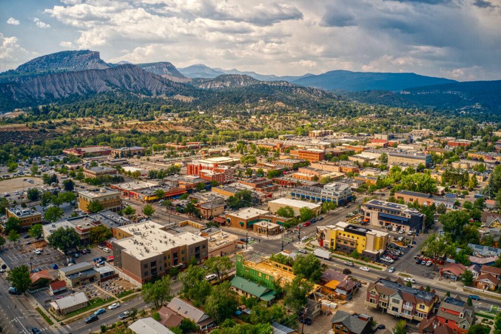 Aerial view of Durango, Colorado