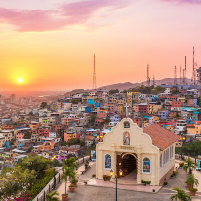 Sunset in the city of Guayaquil, Ecuador
