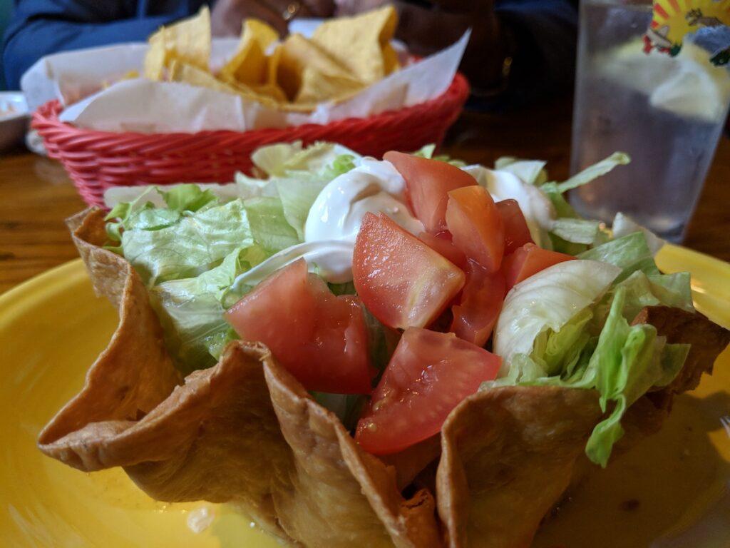 Meal at El Cazador Mexican Restaurant.