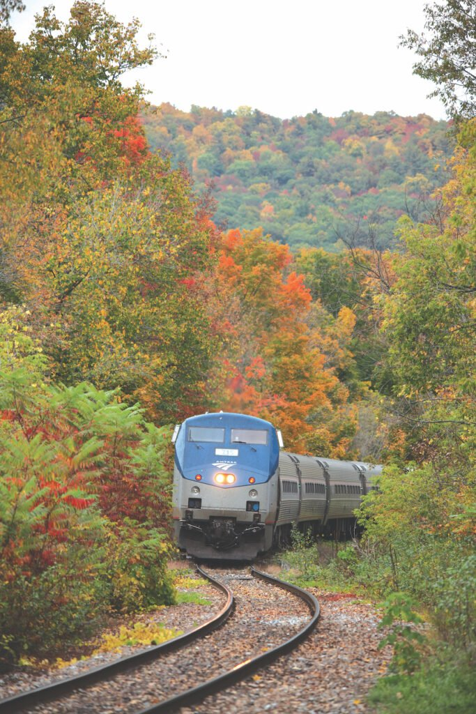 Ethan Allen Express Amtrak train gorgeous fall foliage