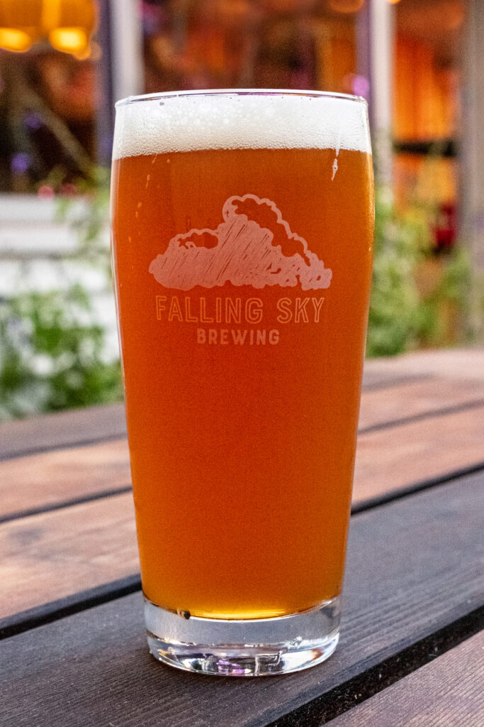 Cold beer in a glass at Falling Sky Brewing.
