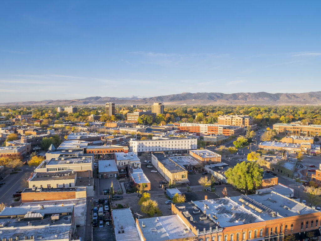 Fort Collins, Colorado and the Rocky Mountains foothills
