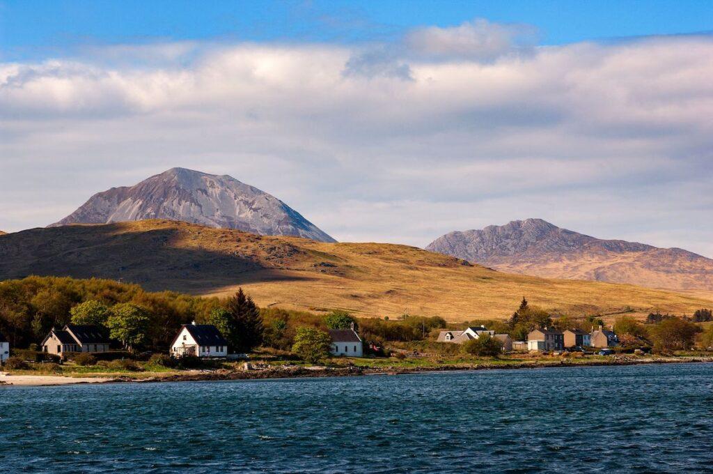 Homes and scenery in Ballantrae, Scotland.