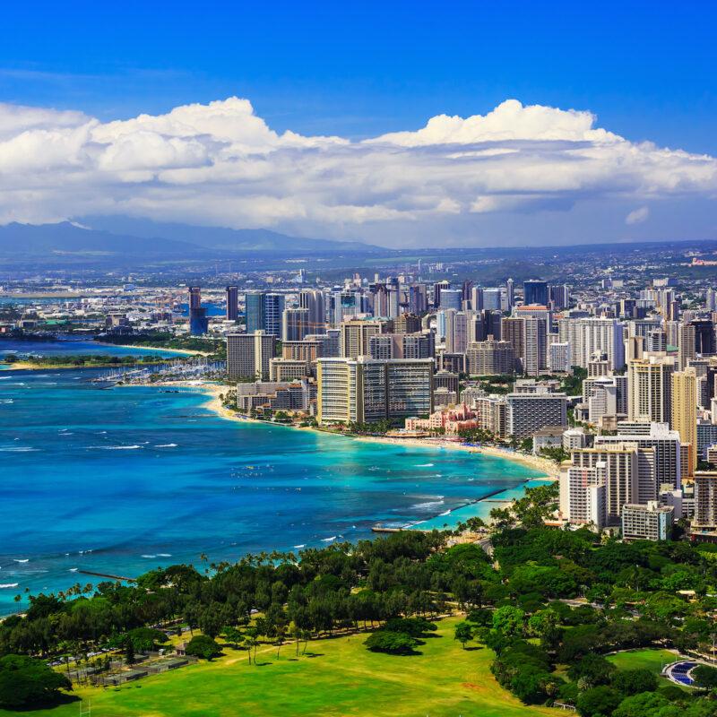 Honolulu, Hawaii skyline and beach