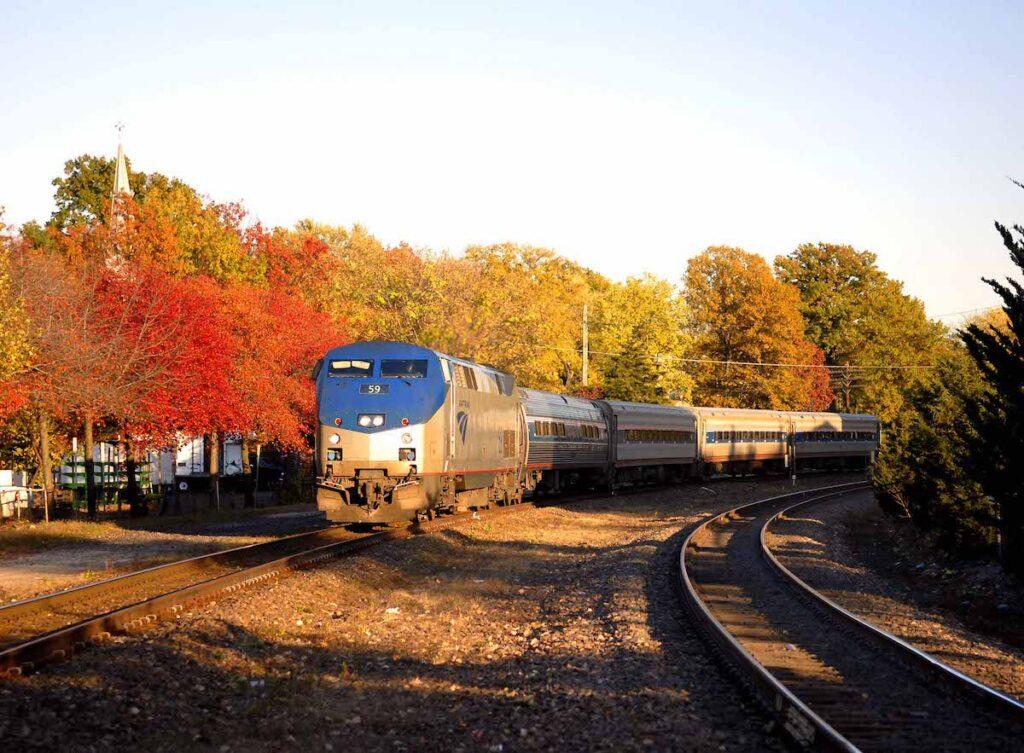 Heartland Flyer Amtrak train fall foliage