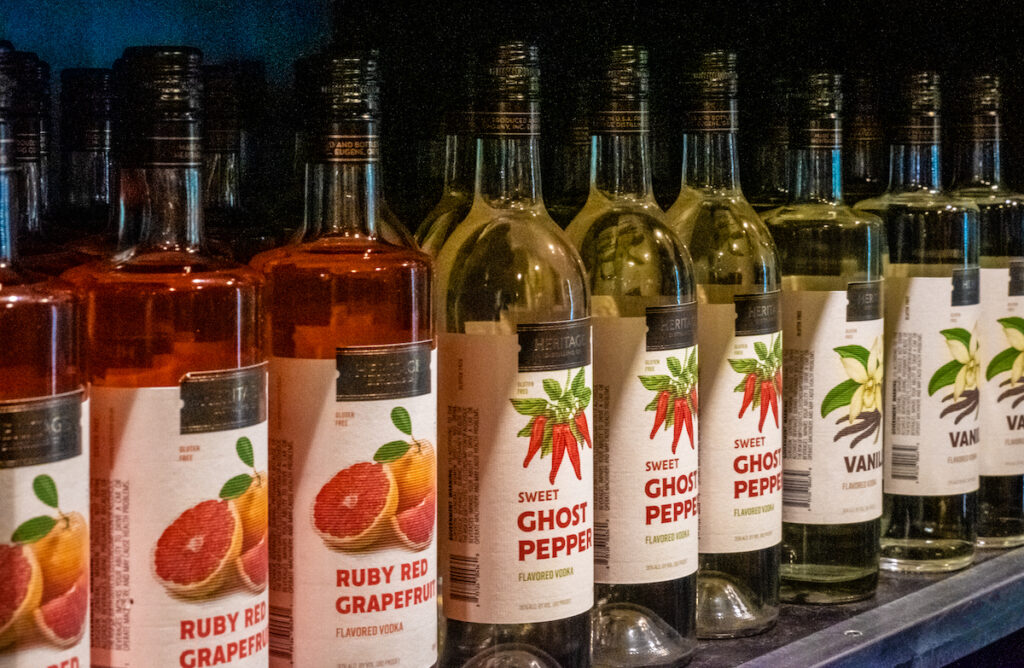 Bottles of flavored vodka at the Heritage Distilling Company.