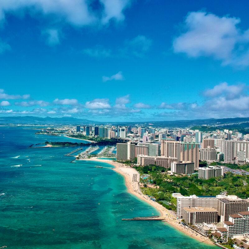Honolulu skyline and beach