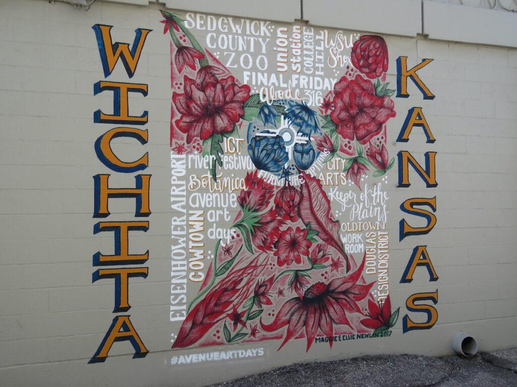 The Wichita flag mural at 1336 E. Douglas, Kansas.