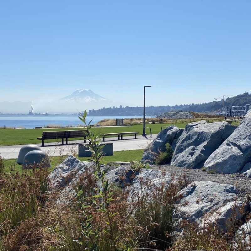 Views of Mount Rainier and the Port of Tacoma from Dune Peninsula Park