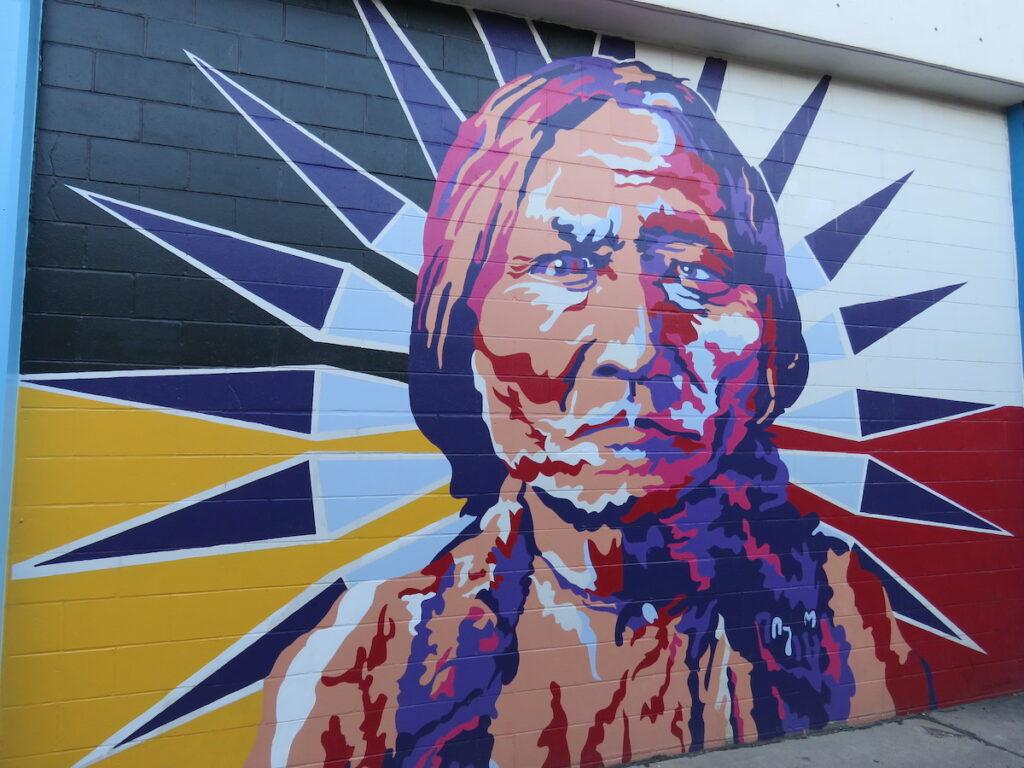 Lakota Chief Sitting Bull memorialized in Bismarck, North Dakota, mural.