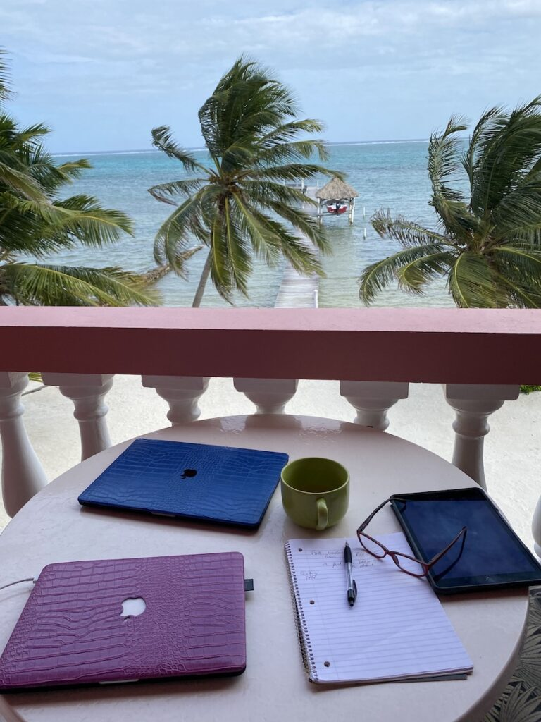Gail Clifford's work station in Belize.