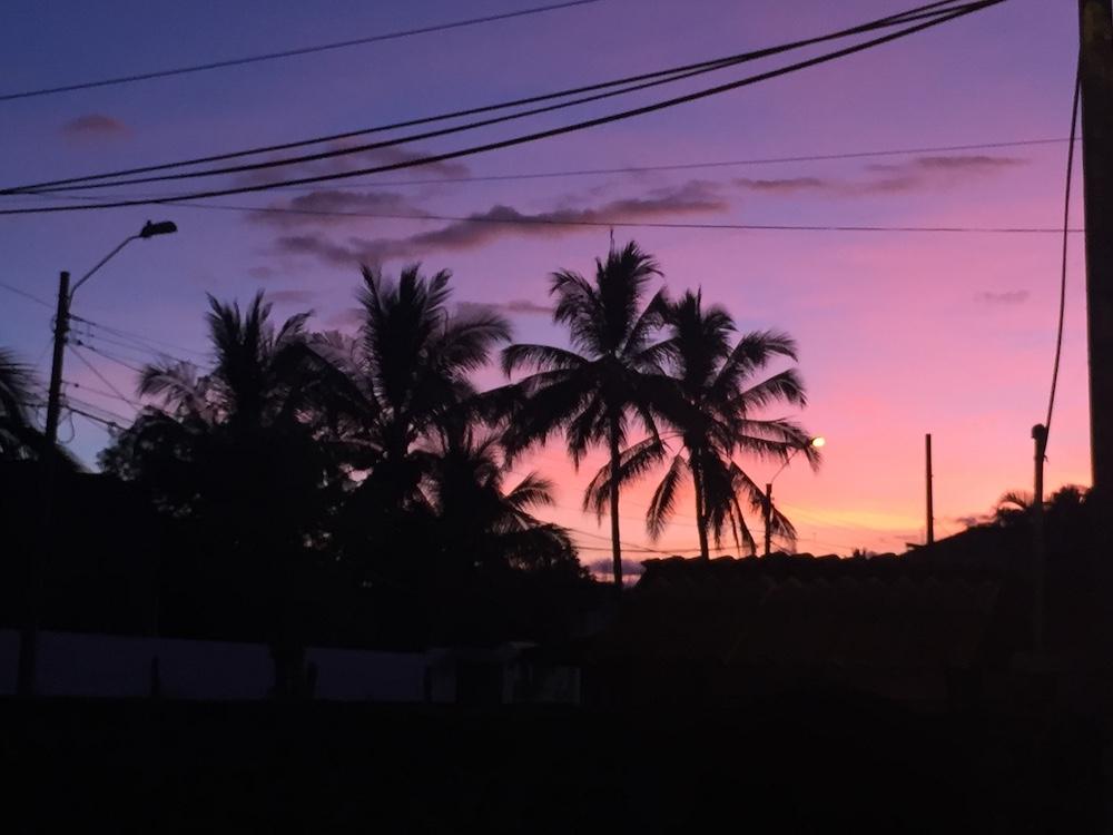 Purple and pink sunset in Puerto Ayora on Santa Cruz Island in The Galápagos, Ecuador