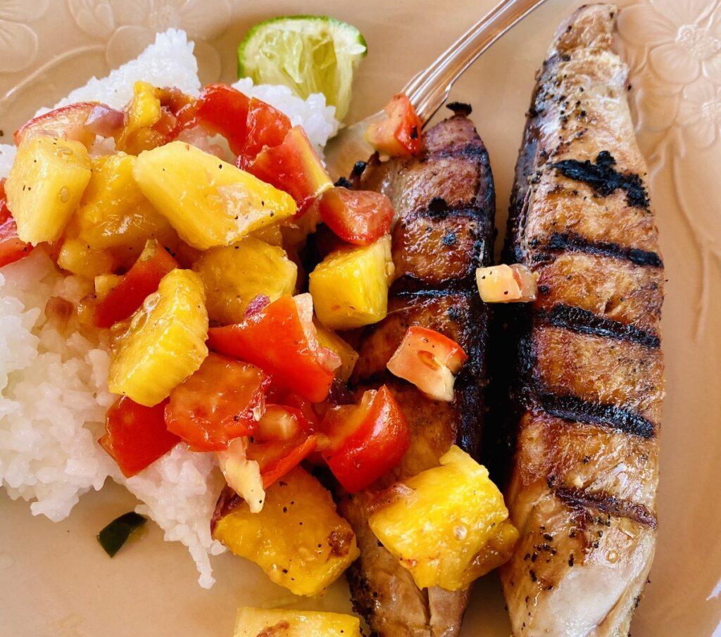 Gail's meal: tuna, rice, and pineapple-poblano salsa.