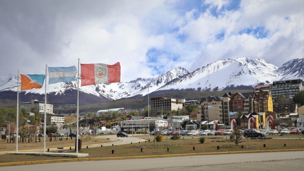 Flags, hotels, and Martial Mountains in Ushuaia, Argentina