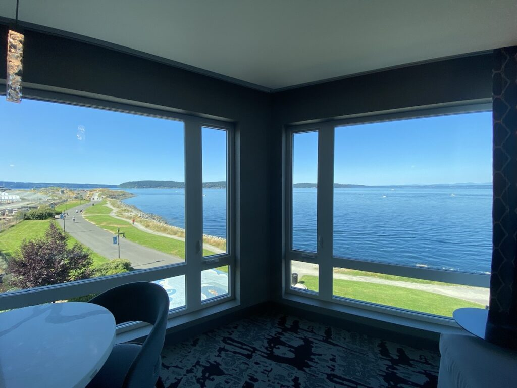 Stunning views from the Silver Cloud Hotel Tacoma at Point Ruston.