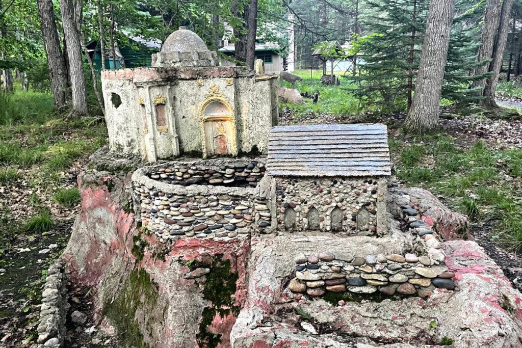 Little model stone house at James Tellen Concrete Park.
