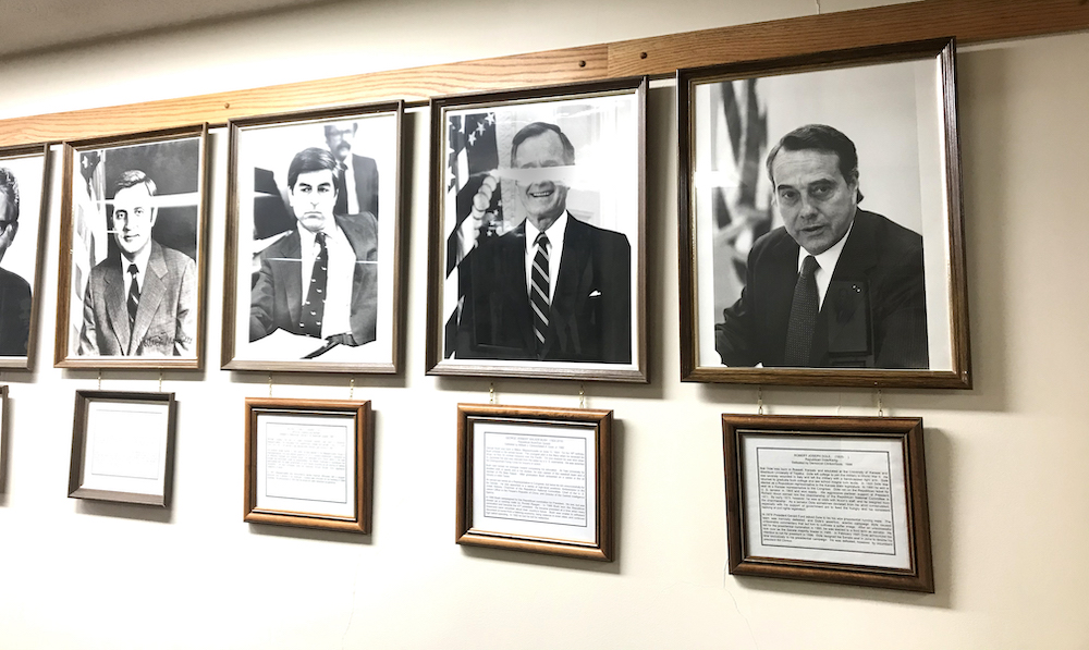 """Kansan Bob Dole appears in the """"They Also Ran"""" Gallery, since he lost to Bill Clinton in 1996"""
