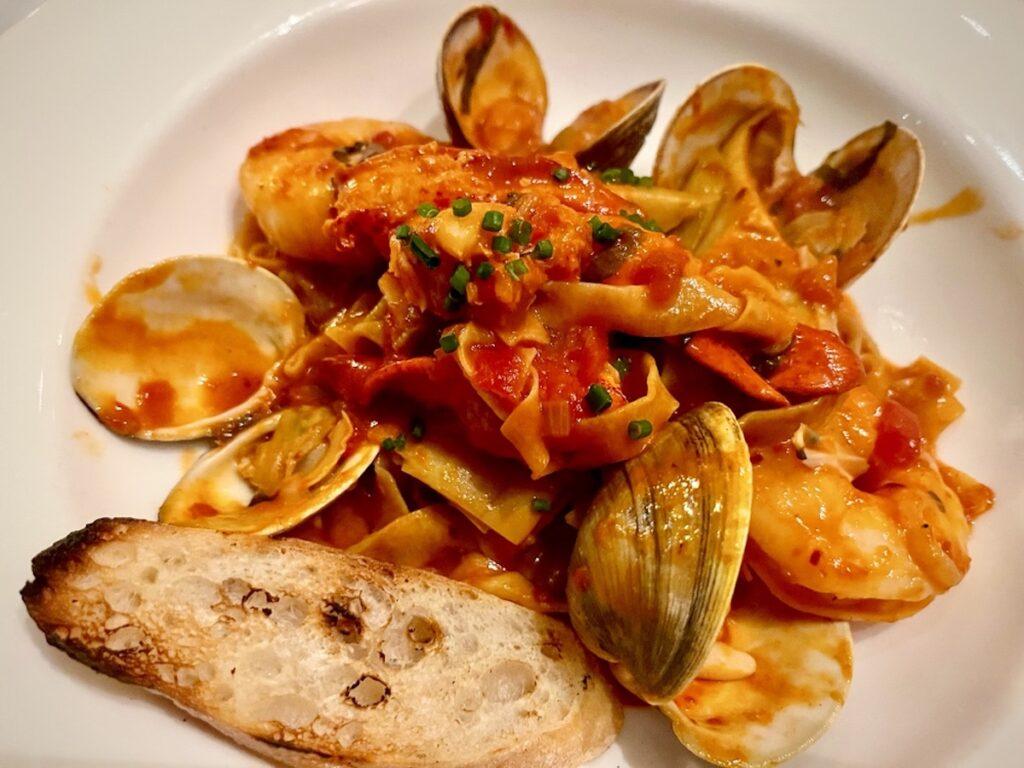Kimball's Kitchen fresh pasta seafood arrabbiata.