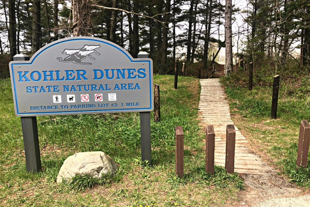 Kohler-Andrae State Park entrance.