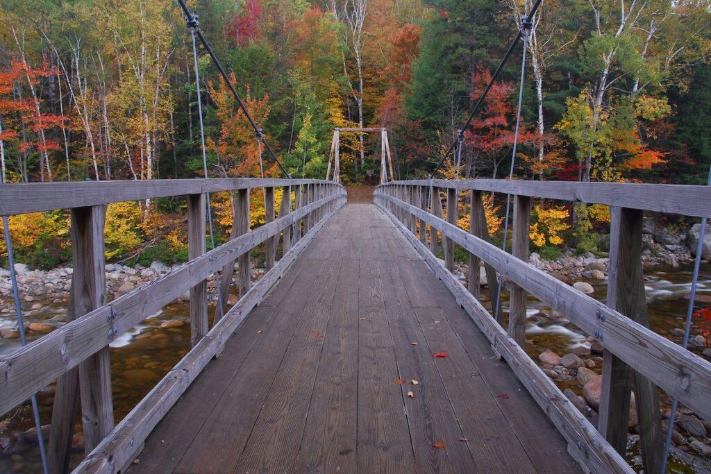 Pemigewasset River footbridge in Lincoln, New Hampshire
