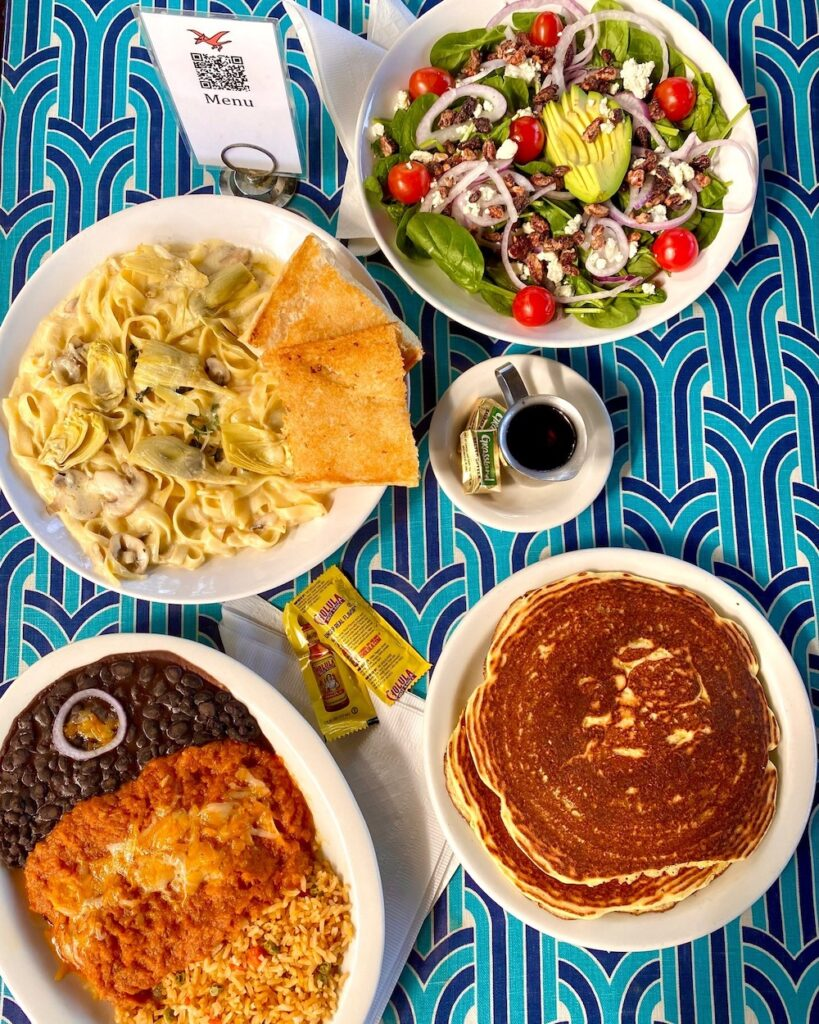Variety of dishes available at Magnolia Cafe in Austin, TX