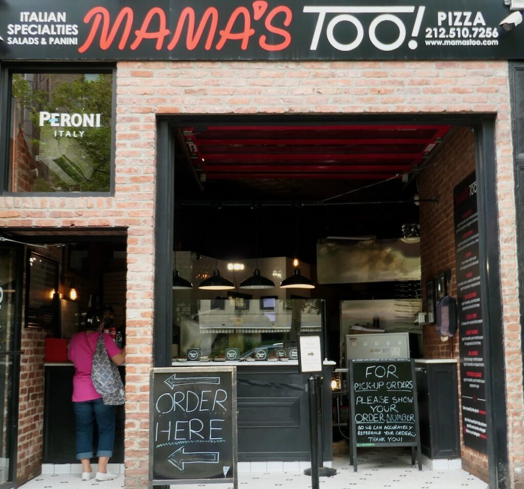 Entrance and chalk sign for Mama's TOO.