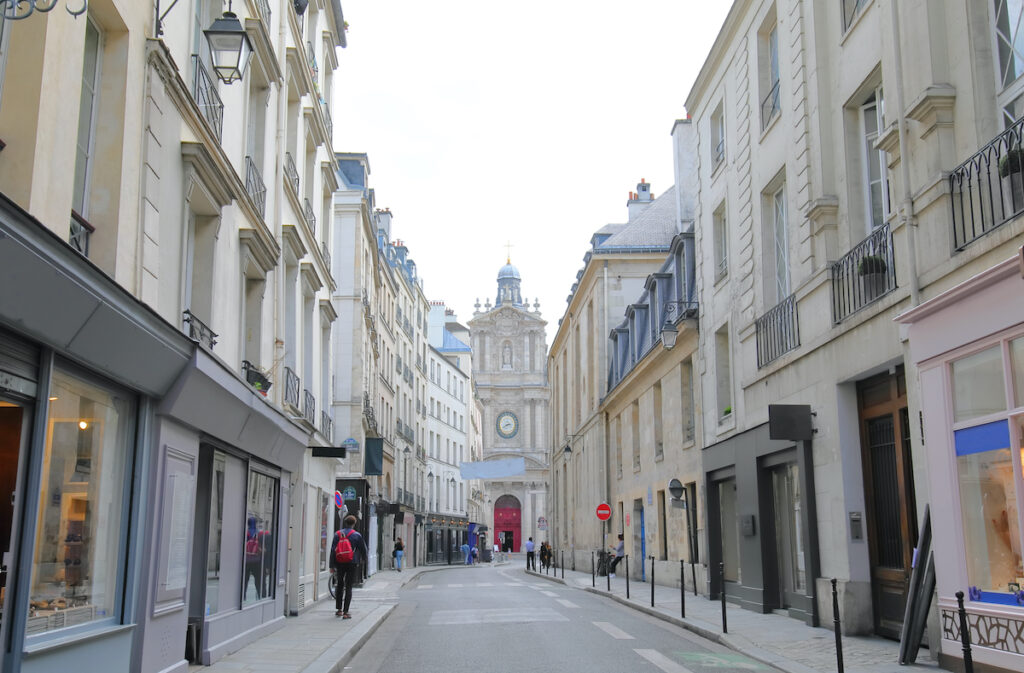 Shopping area in the Marais district of Paris, France