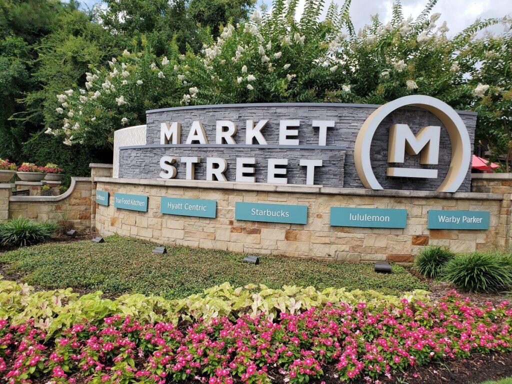 Entrance to Market Street shopping area.