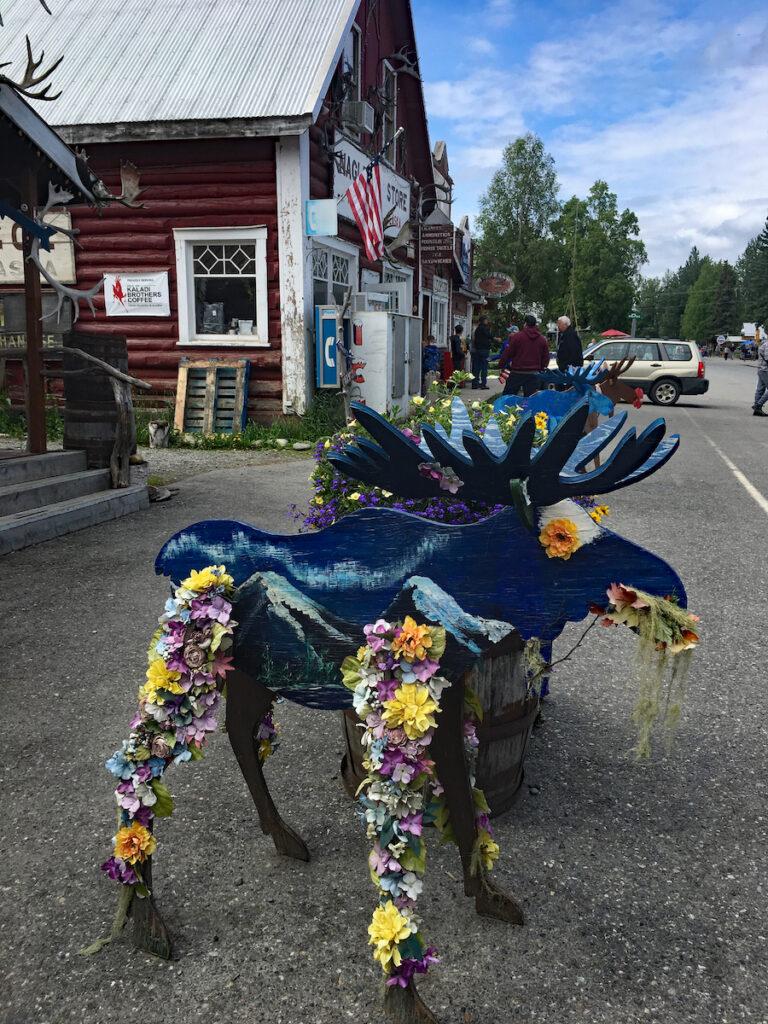 Moose on Parade statue, Talkeetna Alaska, summer festival