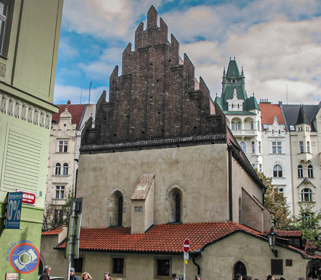 Old-New or Staronova Synagogue in Prague's Jewish Quarter