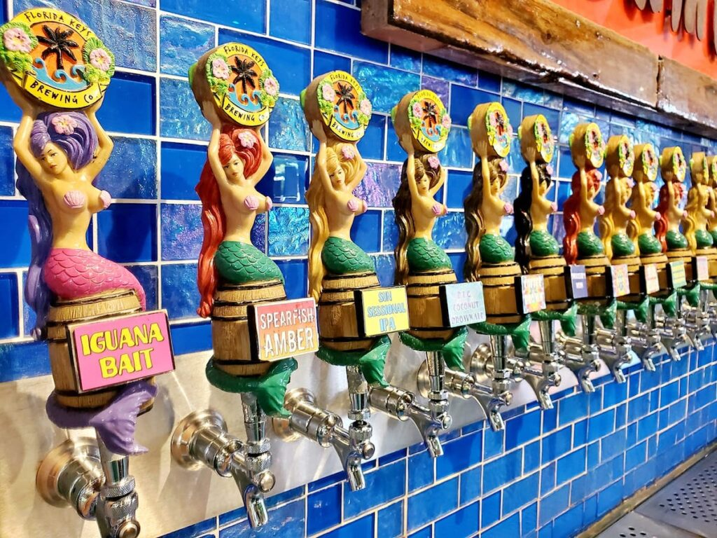 Mermaid handles display the many choices of beer on tap.