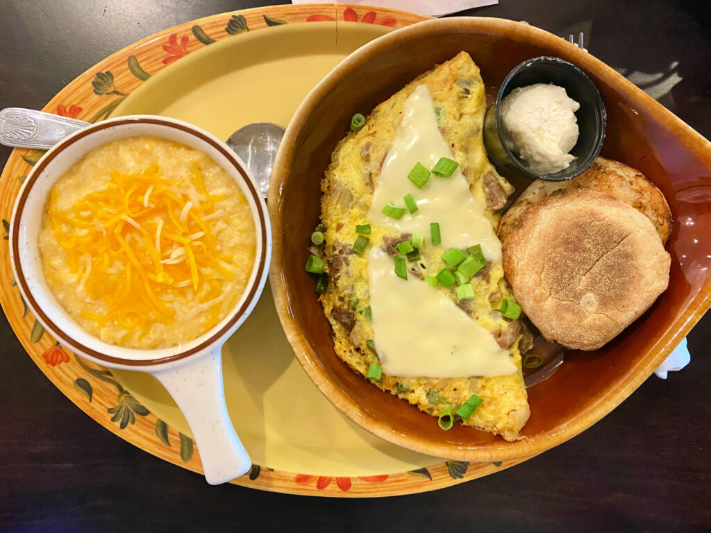 Philly cheesesteak Omelet from the Egg Cafe.